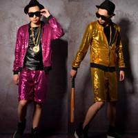 chaqueta de dos colores para hombre al por mayor-S ~ 5XL HOT Fashion new men's sequins bicolor ropa de béisbol discoteca bar cantante DJDS trajes de rendimiento más tamaño chaqueta