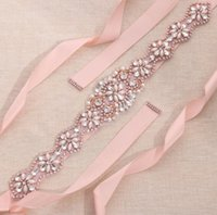 Wholesale Sashes For Bridal Dresses - MissRDress rose gold crystal and pearls bridal belt wedding ribbons wedding dress sash rhinestones ribbon for bridal party event gown ys806