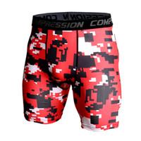 красные мужские леггинсы оптовых-New Camo Red Gym Shorts Men Quick Dry Sport Running Shorts Men Fitness Leggings Compression Tight Training Basketball Shorts