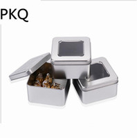 Wholesale medicine packaging - 10pcs lot 90x90x55mm Square iron box Watch Medicine Mooncake Package Tin Iron Can with window Candy Storage Box Wedding Favor