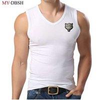 muskel-stil westen großhandel-New Style Wolf Stickerei Männer Tank Top Mensbodybuilding Fitness Lycra Tank Shirt Sommer Kleidung Muskel V-ausschnitt Sleeveless Weste