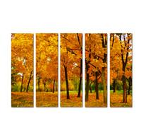 modern yaprak resimleri toptan satış-Büyük 5 Panel Modern Duvar Sanatı Resim Altın sonbahar Akçaağaç Fallen Yapraklar Manzara Oturma Odası Ev Dekorasyonu için Tuval Üzerine Baskı boyama SetB15