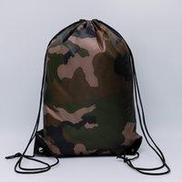 açık cam sırt çantası toptan satış-Kamuflaj İpli Çanta 210D Su Geçirmez İpli Sırt Çantası Camo Spor Çantası Okul Spor Açık Ayakkabı Çantası OOA5650