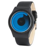 uhrzeiger großhandel-Kreative Frauen Uhren Blau Swirl Pointer Lederband Business Casual Quarzuhr Männer Mode Uhr Geschenk