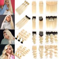 4x4 maschine großhandel-Brasilianische Gerade Jungfrau Haar 613 Blonde Bundles mit Spitze Frontal Ohr zu ohr Peruanische 1B 613 Körperwelle Menschenhaar Bundles mit Verschlüsse