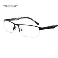 9f6dc7cc2f2 gray eyeglasses Canada - Metal Half Rim Spectacles Eyeglass Frames  Prescription Glasses For Myopia Black Grey