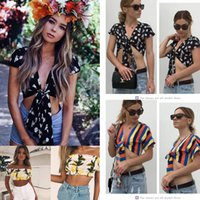 Wholesale womens xxl t shirts for sale – custom Womens Casual Off Shoulder Floral Short T Shirt Print Stripe Sleeves Blouse Tops Sexy Ladies Off Shoulder Wear Outdoor Shirt Top AAA550