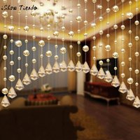 Wholesale wholesale door beads - 1 Luxury Crystal Glass Beads Door String Tassel Curtain Wedding Divider Panel Room Decor Bead Rope Solid Transparent Champagne