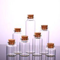 artesanato garrafas rolhas venda por atacado-Garrafa de Vidro transparente com Rolhas De Vidro Vial Frascos Pingente de Projetos de Artesanato DIY para lembranças de 30mm de Diâmetro