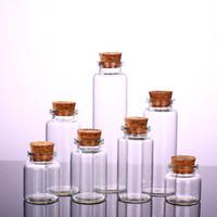 şişe şişeleri mantar toptan satış-Temizle Cam Şişe Mantar ile Flakon Cam Kavanoz Kolye Craft Projeleri DIY için Keepsakes 30mm Çapı