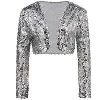 f4fb72d60b2896 lange bolero cardigan großhandel-Sparkly Sexy Frauen Pailletten Cardigan  Jacke Mantel Langarm Kurz Bolero Shrug