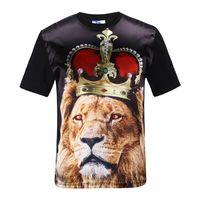 rei do leão camiseta venda por atacado-3D camisetas Rei Leão Homens / mulheres 3d t-shirt magro tops golssy rayon frente impressão coroa leão harajuku camisetas Ásia S-XXL