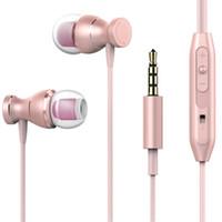 super mikrofone großhandel-Magnetische Kopfhörer 3,5 mm In-Ear-Kopfhörer-Freisprecheinrichtung mit Mikrofon-Drahtsteuerung Super Bass Stereo-Ohrhörer mit Kleinpaket