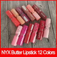 bastões para os lábios venda por atacado-NYX BUTTER BATOM Maquiagem Profissional Marcas de Longa Duração Lip Gloss Lip Sticks 12 Cor Misturada Frete Grátis