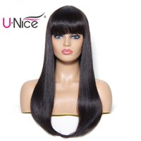 Wholesale remy human hair bangs for sale - Unice Hair Bettyou Wig Series Brazilian Straight Human Hair Wigs Remy Human Hair Wigs With Bang Natural Color Inch Bulk