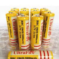 wiederaufladbare lithium-ionen aa großhandel-Beste Qualität Ultra Fire 18650 3.7V 5000mAH Lithium Akku Gelb, UltraFire BRC 18650 Li-Ion Akkus Mit Ladegerät