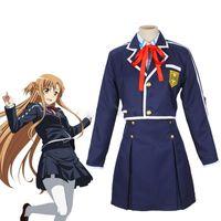 ingrosso cappotto online di arte spada-Sword Art Online SAO Yuuki Asuna Scuola Uniforme Cappotto Gonna Gonna Anime Outfit Costumi Cosplay