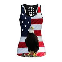 amerikanische flagge weste frauen großhandel-Lustige 3D Frauen Weste Eagle American Flag Print Mode Tank Tops