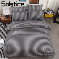 Wholesale green boys bedding for sale - Group buy Solstice Home Textile Bedding Set Stripe Gray Linen Suit Adult Teen Boy Girl Duvet Quilt Cover Pillow Cases Bed Sheet King Queen