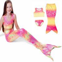 denizkızı çocukları toptan satış-Gökkuşağı Nokta Çocuklar Fanny Mermaid Kuyruk Cadılar Bayramı Kostüm Swimmable Denizkızı Kuyrukları Çocuk Prenses Ariel Little Mermaid-Kuyruk Elbise Y1891202