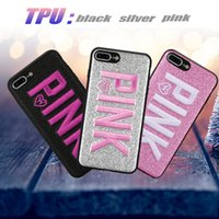 Wholesale customized phone cases wholesale online - PINK Case Pink Cover Case For Iphone XS Max Iphone XR Plus Glitter D Embroidery Love Pink Phone Case For Samsung S9 S8 Plus OPP Bag