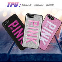 Wholesale black glitter bag - PINK Case Pink Cover Case For Samsung Galaxy S9 S9 Plus Glitter 3D Embroidery Love Pink Phone Case For iPhone X 8 Plus with OPP Bag