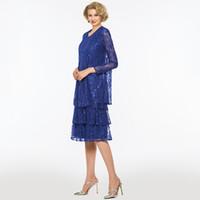 vestidos de noiva mãe sage verde venda por atacado-2018 azul royal lace mãe do vestido de noiva saia saia bainha mangas compridas festa de casamento mãe do vestido de noiva com jaqueta