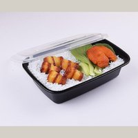 Wholesale Rectangular Plastic Box - 1250ml,1500ml,1750ml, A disposable packing box Black rectangular plastic lunch box Thickened lunch box free shipping