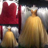 ingrosso vestito giallo dolce 16-2018 New Dark Red Yellow Quinceanera Dress Sweet 16 Abiti Ball Gown Prom Dresses Perline Strass Principessa Abiti di Promenade Vestidos 15 anos