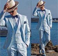 traje de los hombres de chaleco amarillo al por mayor-Azul claro boda boda esmoquin esmoquin por encargo tres piezas dos botones mejor traje de hombre alfombra roja traje para hombres