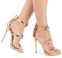 ingrosso sera d'oro dei sandali dell'alto tallone-Sandalo tacco alto in vernice oro rosa con stelle di cristallo Abito da sera con tacchi Shiny Sliver Slim Platform Summer Shoes