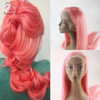 Wholesale light pink human hair wigs resale online - Evermagic Brazilian human hair full lace wigs light baby pink color straight silk base wig hair