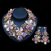 kristallpalast halskette großhandel-LAN PALACE Luxusblume bunte Hochzeit Schmuck-Set österreichischen Kristall Halskette und Ohrringe