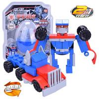 Wholesale truck 11 - Children Originality Gashapon Deformed Blocks Toys Two Change Granule Building Block Toy Funny Deformable Robot Truck 4 3lh W