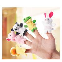 muñecas de tela de animales al por mayor-Muñeca 10pcs / Lot Animal de dibujos animados Velvet Finger Puppet Finger Toy Finger Doll Baby Cloth Educativo Hand Story Baby Toy