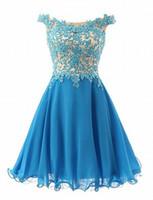 vestidos de moda para ocasiões especiais venda por atacado-Curto Ombro Elegante Homecoming Vestidos Moda Feminina Azul Do Laço De Noiva Vestido Ocasião Especial Prom Da Dama De Honra Vestido de Festa 17LF912