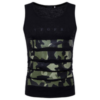 Wholesale Casual Male Camouflage Vest - Men Camouflage Printed Vest Top Meisai Sport Style Sleeveless Casual Tee Gym Male Basic Wear 7 Color