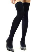 черные фиолетовые чулки оптовых-Factocy Price Over Knee Socks Бедра Высокие Чулки Женщины Sexy Хлопок Разбавитель Чулки Черный / Белый / Серый / Фиолетовый / Синий 36
