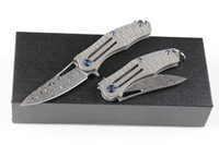 Wholesale wholesale damascus steel folding knife - 18Pcs 2018 New Keychain Folding Knife Damascus Steel Blade TC4 Titanium Alloy Handle Mini Small Folding Knives Liner Lock