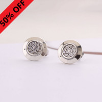 Wholesale silver earrings - Women Luxury Brand Jewelry Designer Earrings Original box For Pandora Sterling Silver Crystal Diamond Womens Stud Earring