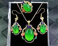 jade grüner silber ring großhandel-Natürliche authentische 925 Silber eingelegten Eis Chalzedon dreiteilige Jade Anhänger grüne Achat Jade Ring Anhänger Ohr
