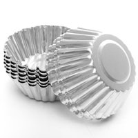 aluminium eierkuchenform großhandel-Mini Wegwerfblumenart Aluminiumfolie Cupcake Muffinschalen Ei-Törtchen-Schalen-Ei-Törtchen-Form-freies Großhandelsverschiffen