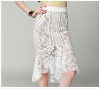 faldas de diseño de moda al por mayor-Faldas de cola de pescado de las mujeres de alta calidad ahueca hacia fuera las faldas del cordón Vestido de la manera Vestido de las nalgas del estilo europeo del partido del vestido nuevo nuevo diseño
