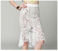 novos skirts designs venda por atacado-Mulheres de alta qualidade rabo de peixe saias escavadas saias de renda vestido de moda estilo europeu partido magro nádegas dress novo design