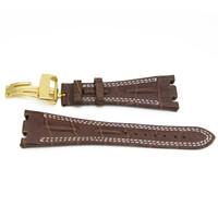 correas de reloj de 28 mm al por mayor-CARLYWET 28mm Comercio al por mayor de Brown de Cuero de Alta Calidad de Reemplazo de Reloj de pulsera Cinturón de correa con Oro de plata de Oro Rosa Corchete