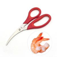 Wholesale Fishing Cutters - Lobster Shrimp Scissors Creative Seafood Scissor Red Peelers Scissors Fish Belly Cutter Shears Snip Shells Kitchen Gadget Tools YFA329