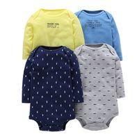 ingrosso tuta gialla per ragazzi-4 pezzi estate neonate tute blu giallo grigio stampa maniche lunghe in cotone baby tuta ragazzi copre set ROBG080711283