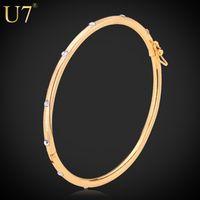 brazaletes de joyería u7 al por mayor-Venta entera U7 de oro / color plateado pulseras brazaletes para las mujeres del diseño simple Rhinestone Crystal Bangles joyería regalos moda H3016