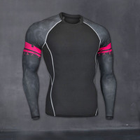 Wholesale Mma Skin - Mens Fitness Long Sleeves Rashguard T Shirt Men Bodybuilding Skin Tight Thermal Compression Shirts MMA Crossfit Workout Top Gear
