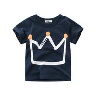 nouveaux tenues pour garçons achat en gros de-New Boy Summer T-shirt Couronne Impression Design Coton Enfants Tee Shirt Garçons Vêtements Vêtements D'été 1-10T